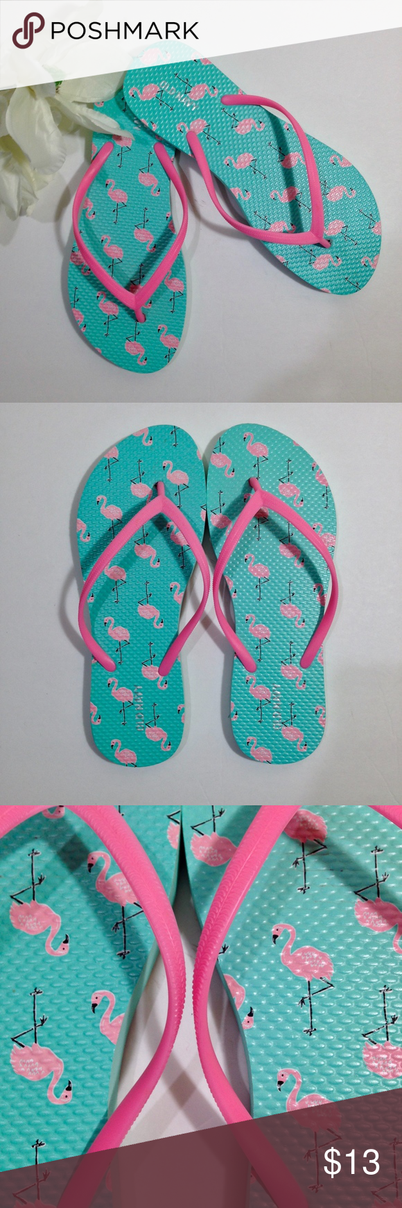 accbcf3157536 NEW Old Navy Pink Flamingo Green Flip Flops Size 8 Women s new old navy  pink flamingo