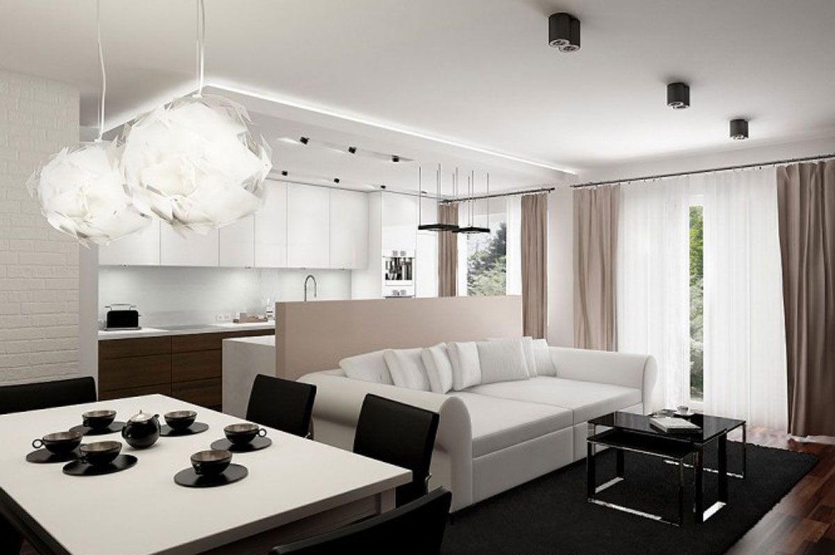 Apartment Excellent Small Apartment Interior Design With Comfy White ...