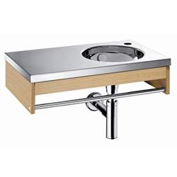 Linea Large Oak and Stainless Steel Wall Mounted Sink