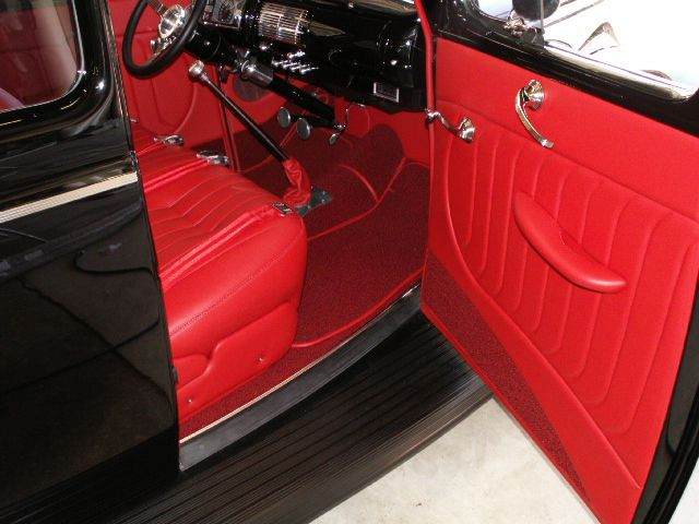 1940 Ford Coupe Custom Red Leather Interior Custom Car Interior 1940 Ford Coupe Leather Interior