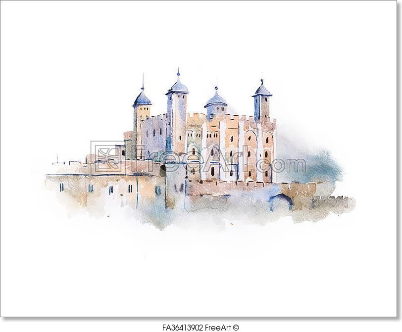 Free Art Print Of Tower Of London Watercolor Drawing London Uk