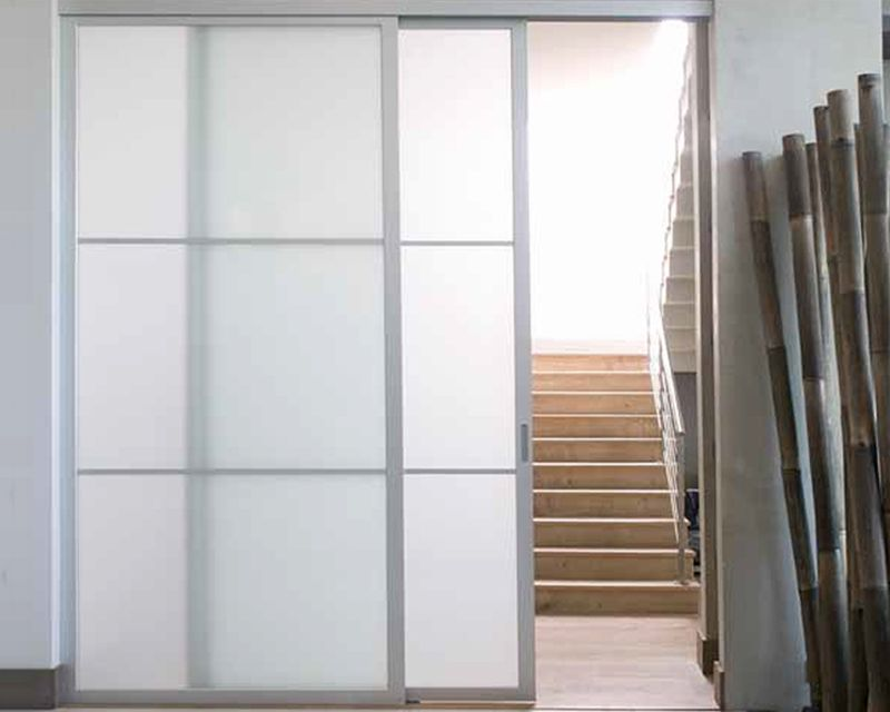 Beautiful Sliding Door System Featuring DN80 Sliding Hardware, AF003 Frame In Natural  Aluminum Finish And Satin