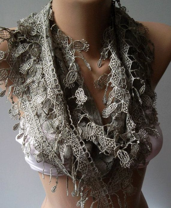 Stone Color   Elegance  Shawl / Scarf with Lacy Edge by womann, $18.00
