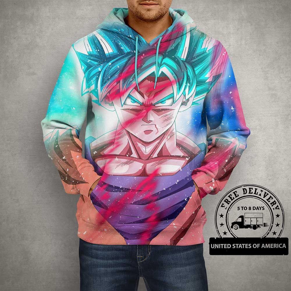 Anime goku multi color 3d print hoodie hoodie print
