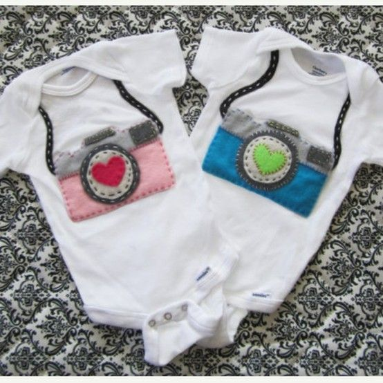 Felt camera bibs for the white baby onesies!#Pin By:Pinterest++ for iPad#
