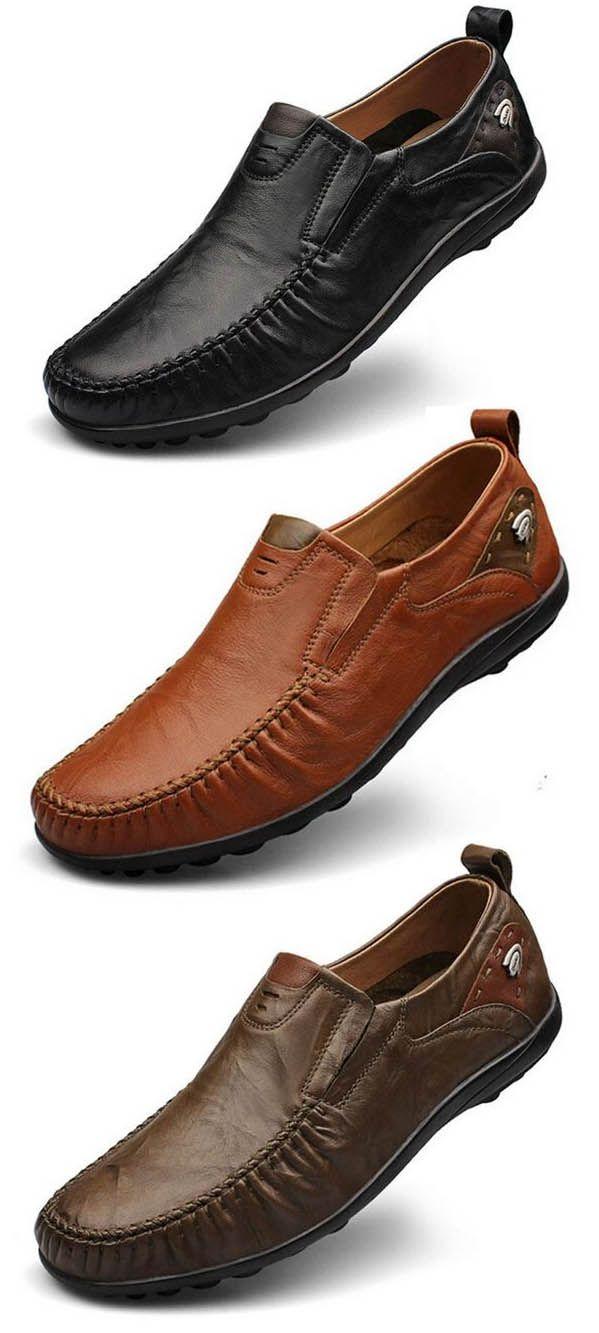 Big Size Men Genuine Leather British Style Soft Print Slip On Business Shoes