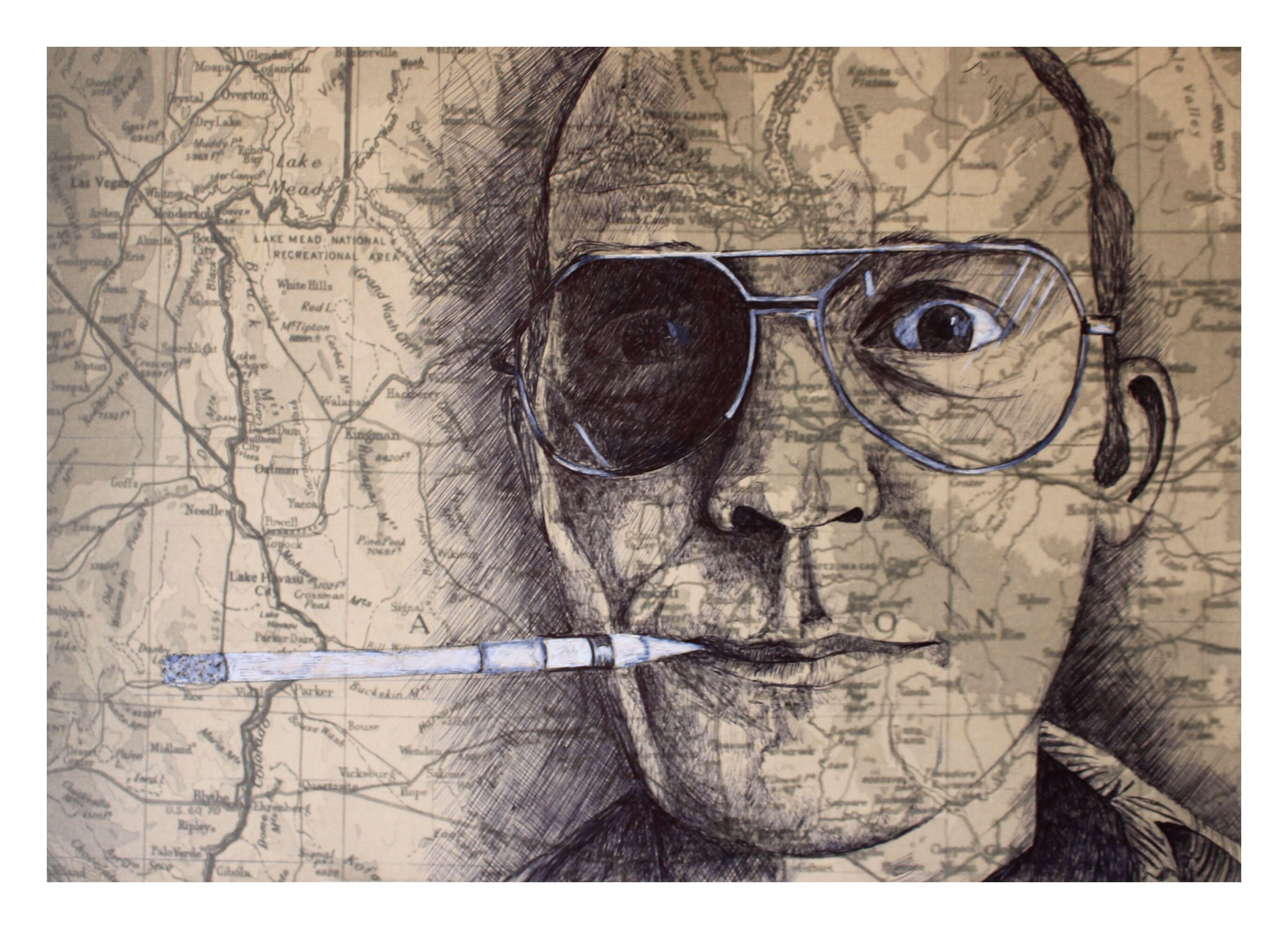 A personal favourite from my etsy shop httpsetsyuk hunter s thompson portrait in pen legendary gonzo journalist and signed print madrichimfo Images