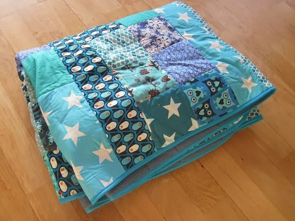 Krea Krumspring: Blåt patchwork tæppe