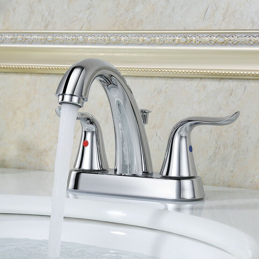 Bathroom Faucet 2 Handle Chrome Widespread Sink Faucet 4 Inch