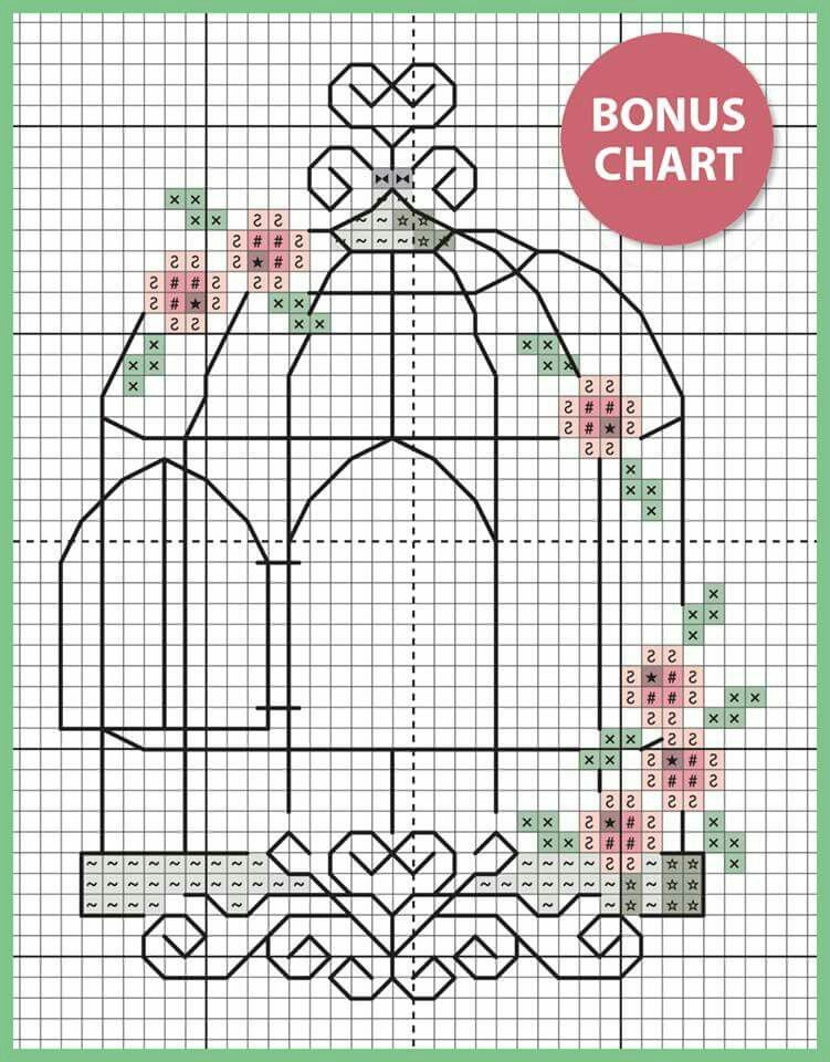 Blackwork Birdcage Birds And Flowers Bookmark Card Cross Stitch Card Kit