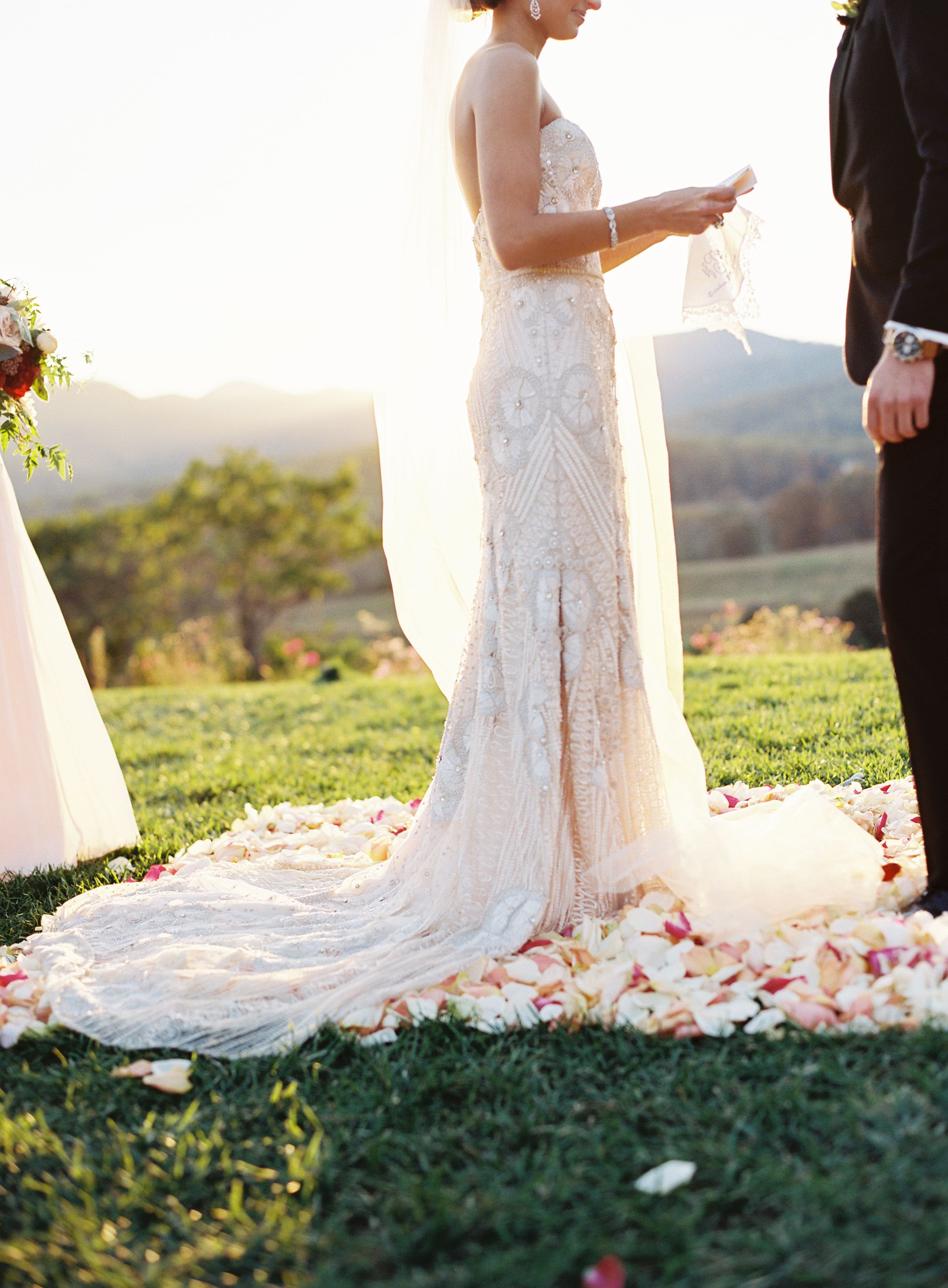 The Bride Groom Share Their Vows During Their Fall Wedding Ceremony At Pippin Hill Wedding Dresses Lace Fall Wedding Ceremony