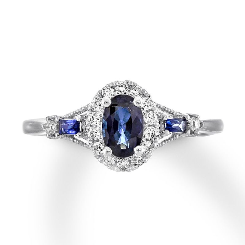 Natural Sapphire Ring 1 8 Ct Tw Diamonds 10k White Gold Kay In 2020 Natural Sapphire Rings Engagement Rings Sapphire Vintage Engagement Rings Sapphire