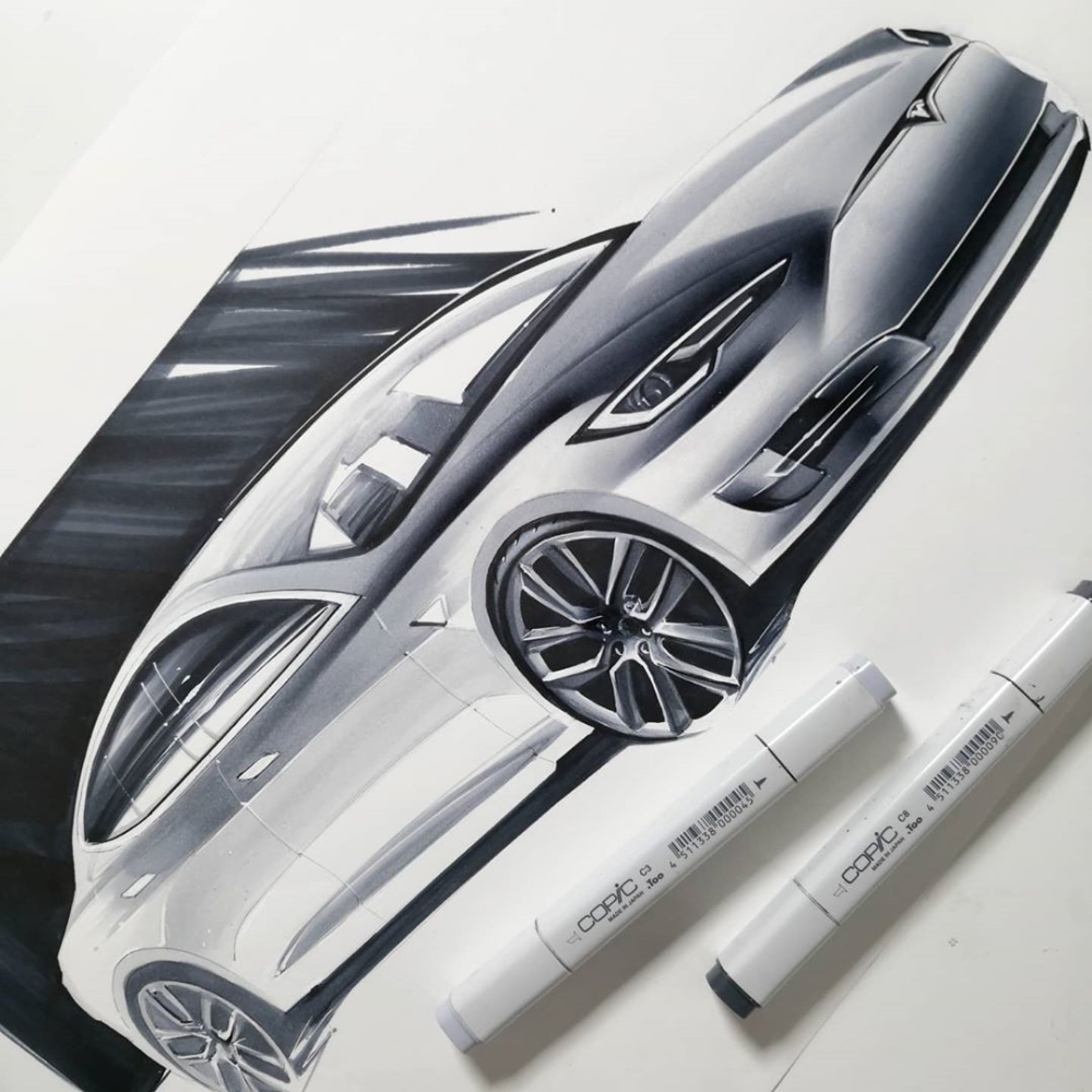 "Orhan Okay on Instagram: ""Tesla sketchwork #industrialdesign #cardesign #productdesign #sketch #marker"""