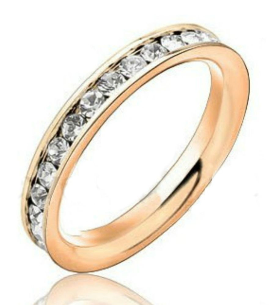 """3mm Womens Stainless Steel """"ROSE GOLD & CZ"""" Eternity Band Ring - Gift Boxed   #Band"""