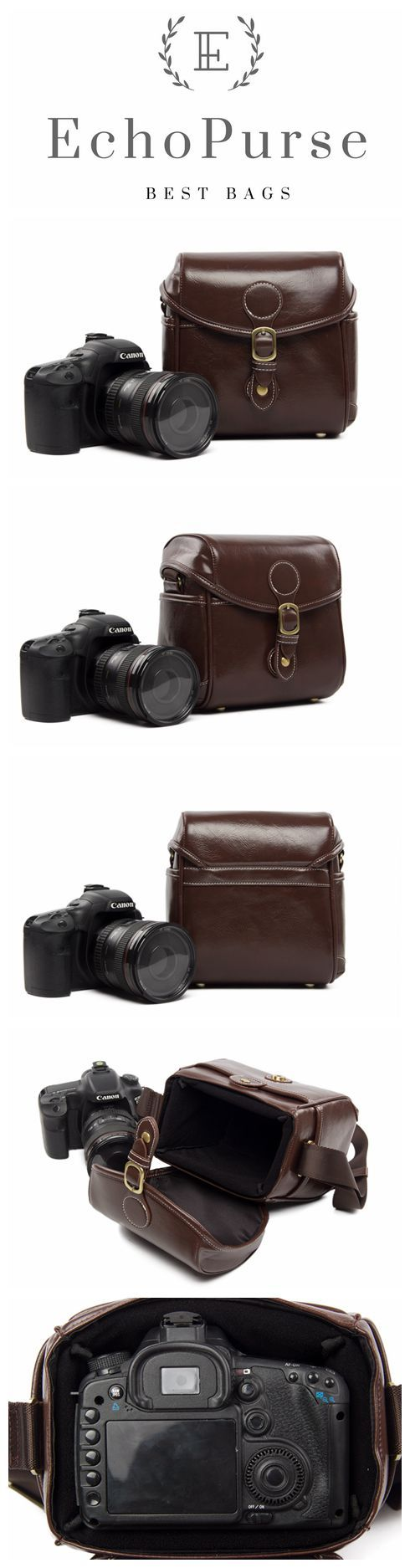 PU Leather DSLR Camera Purse, Coffee SLR Camera Case 288 #camerapurse