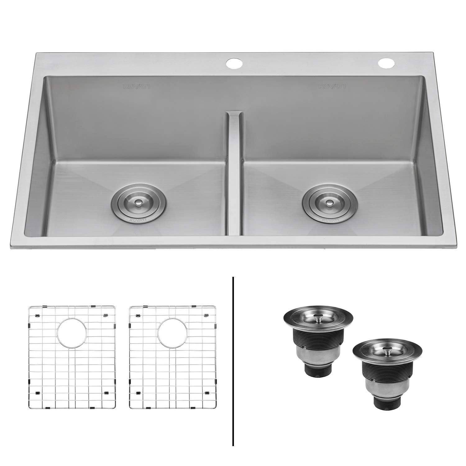 Ruvati 33 Inch Drop In Low Divide Tight Radius 50 50 Double Bowl 16 Gauge Topmount Kitchen Sink Rvh8051 Sink Stainless Steel Kitchen Sink Ledge Kitchen Sinks