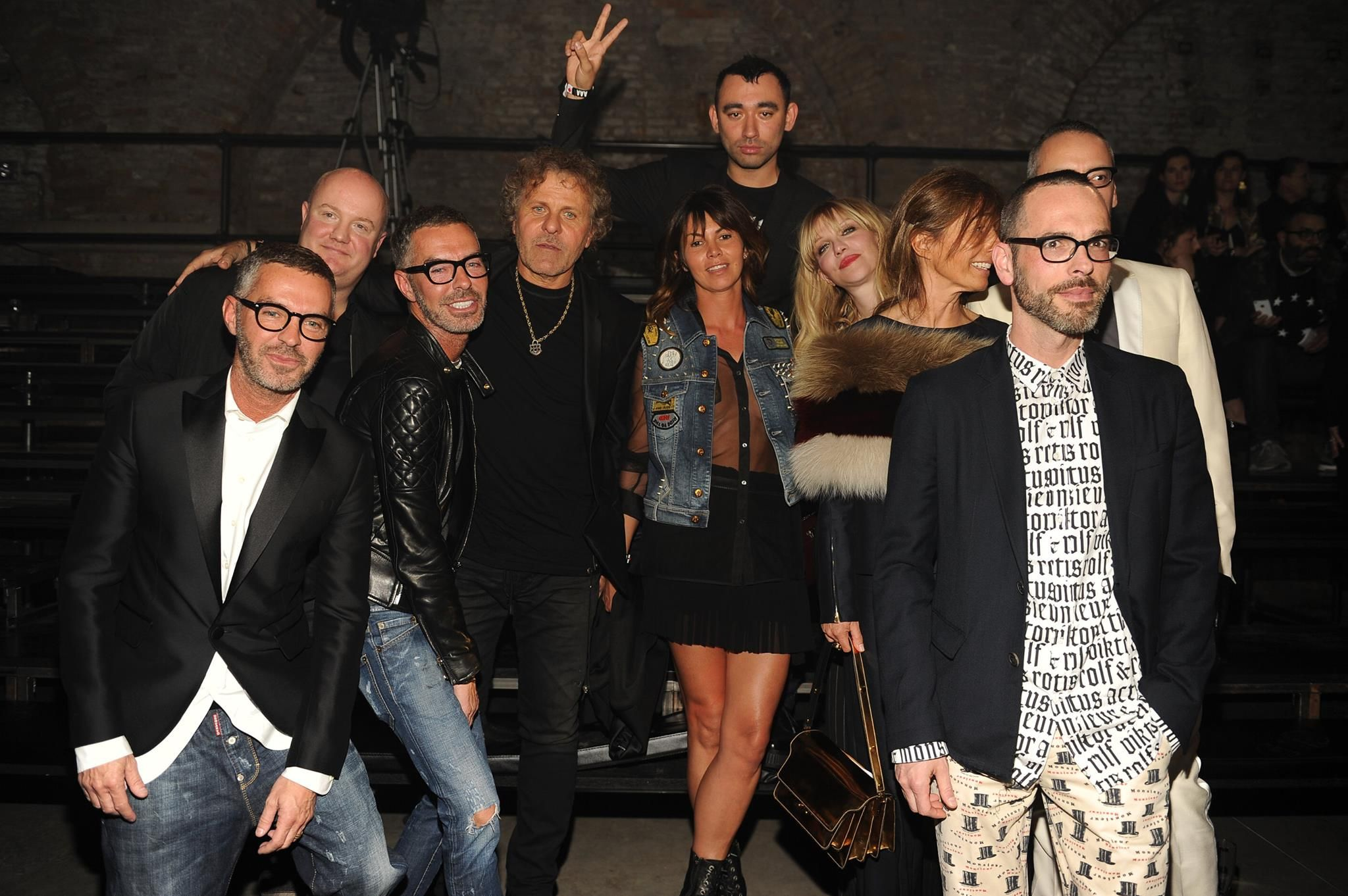 Renzo Rosso and OTB designers (and Courtney Love!) celebrate the finale of the #dieselvenice show: Dean & Dean Caten of DSQUARED2; Andreas Melbostad of Diesel Black Gold; Nicola Formichetti; Consuelo Castiglioni of Marni; Viktor Horsting & Rolf Snoeren of Viktor&Rolf