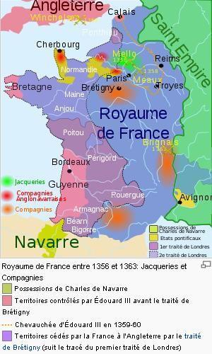 Carte De La Guerre De Cent Ans En 1356 Carte De France Guerre
