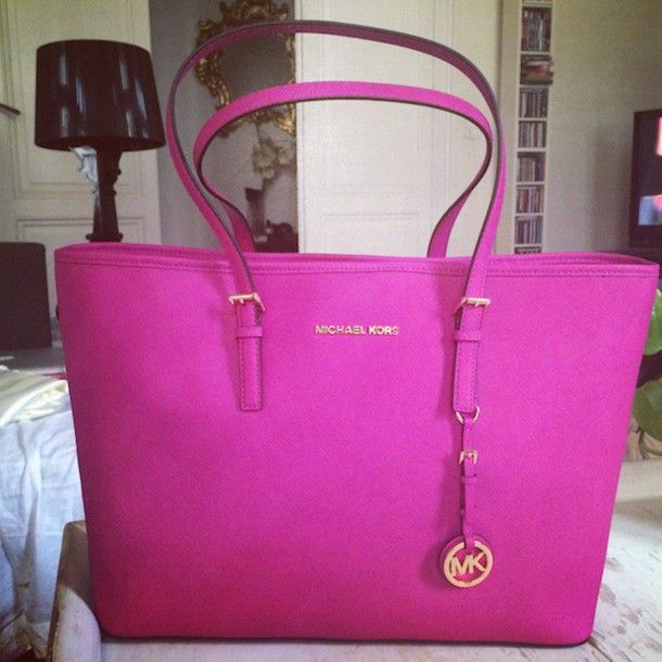 Pink Mk Purse Bag Michael Kors Fushia Neon Brand Luxury Handbag Shoulder