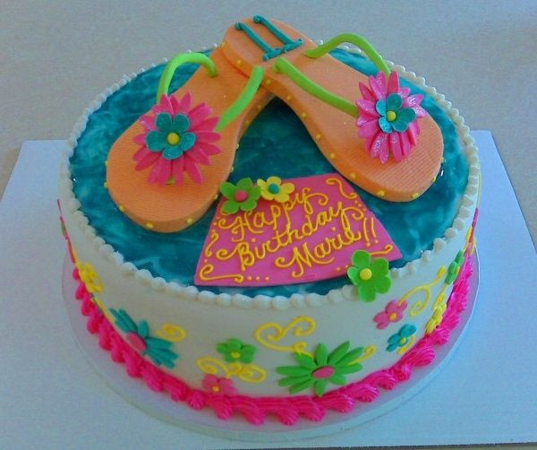 Birthday Cake With Handmade Flip Flops Made Of Sugar Beach Party