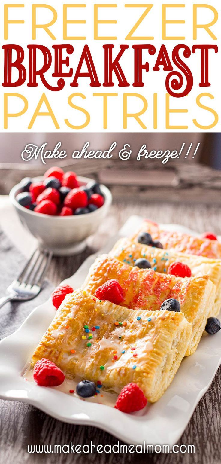 Easy Breakfast Pastries No need to buy at the store, you can make these Easy Breakfast Pastries yourself at home in just minutes! So simple, and much cheaper! Plus, you can make a bunch and freeze them so they're ready to go on busy mornings!