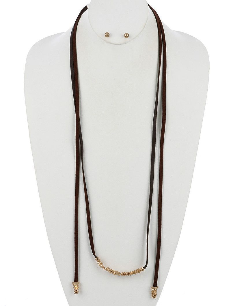 Necklace And Earring Set Matte Finish Metal Faux Leather Strand Wraparound Adjustable Open End Tie Closure Post Pin 40 Inch Long 14 Inch Drop