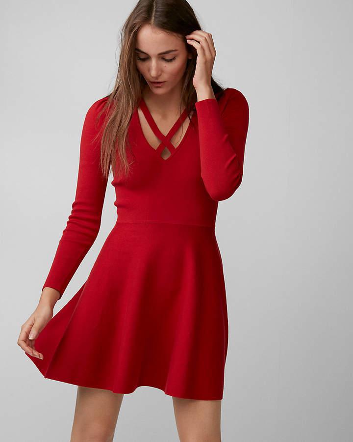 c3625d331e Crisscross Neck Puff Shoulder Fit And Flare Dress Black Women's XXS ...