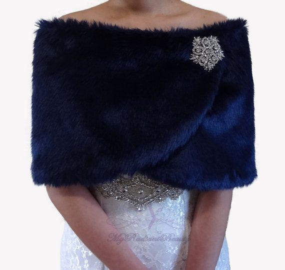 Navy Faux Fur Stole//Bolero//Jacket//Shrug//Wrap//Shawl Satin Ribbon New Wedding