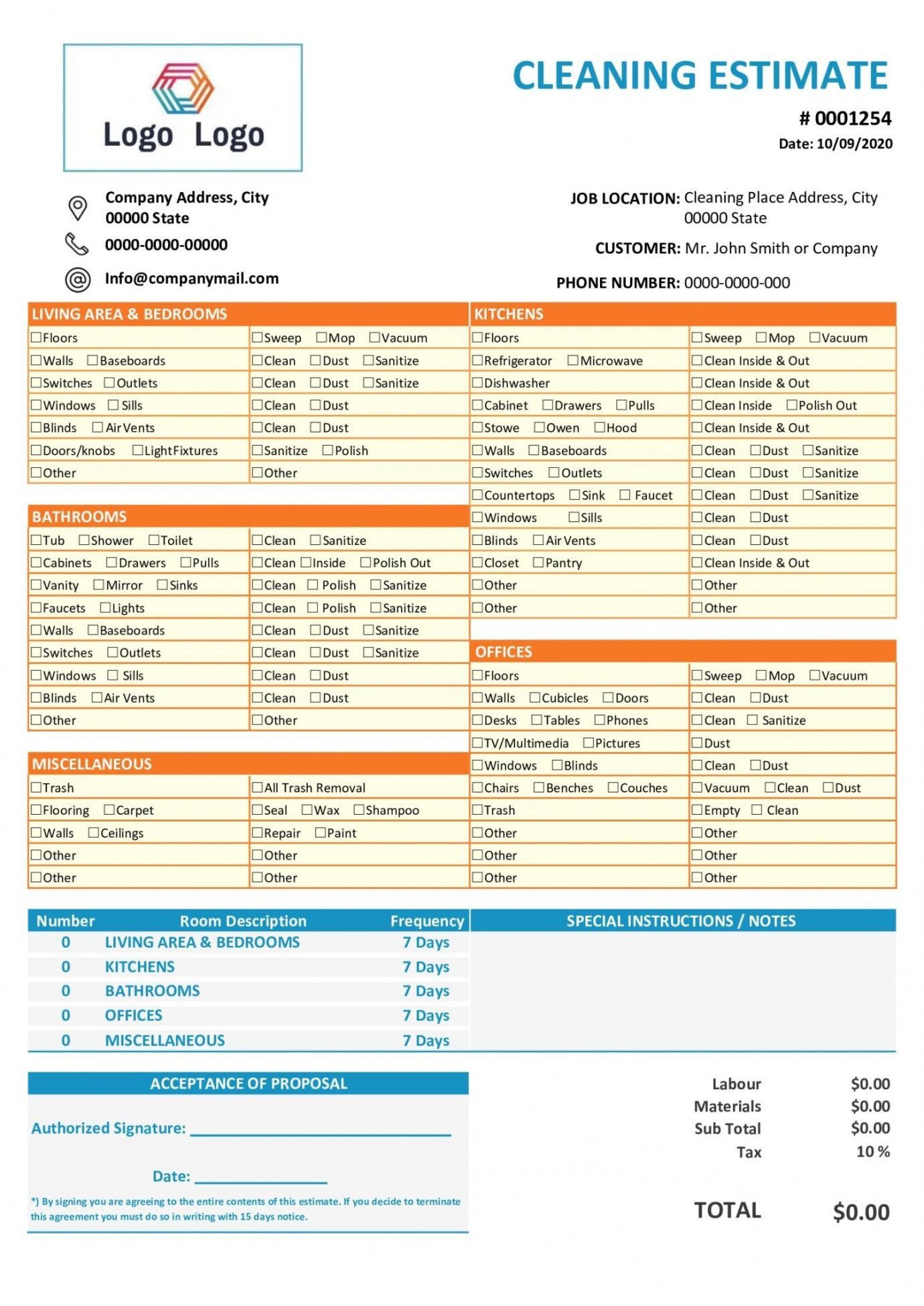 Browse Our Sample Of Cleaning Service Work Order Template