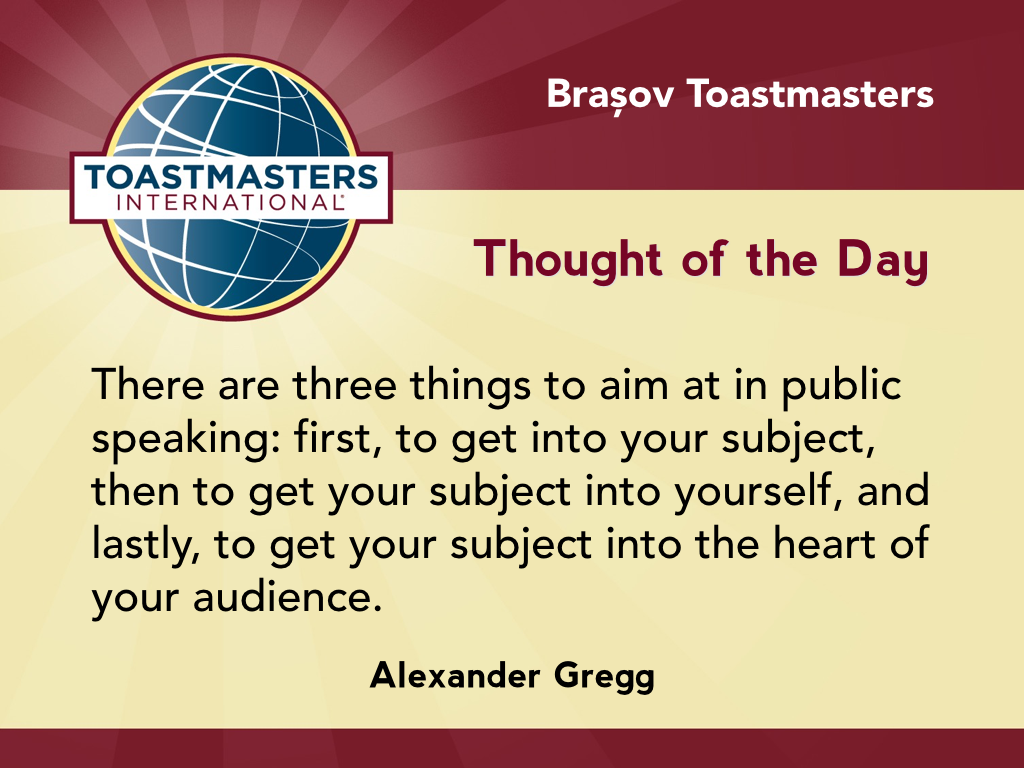 Quotes About Public Speaking A Quotealexander Gregg On The Three Things To Aim At In Public