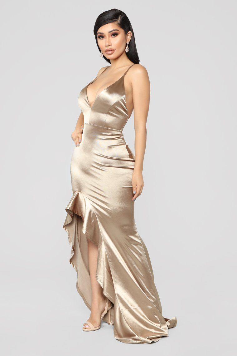 fecbfb5709 Temporary Love Satin Mermaid Dress - Gold in 2019