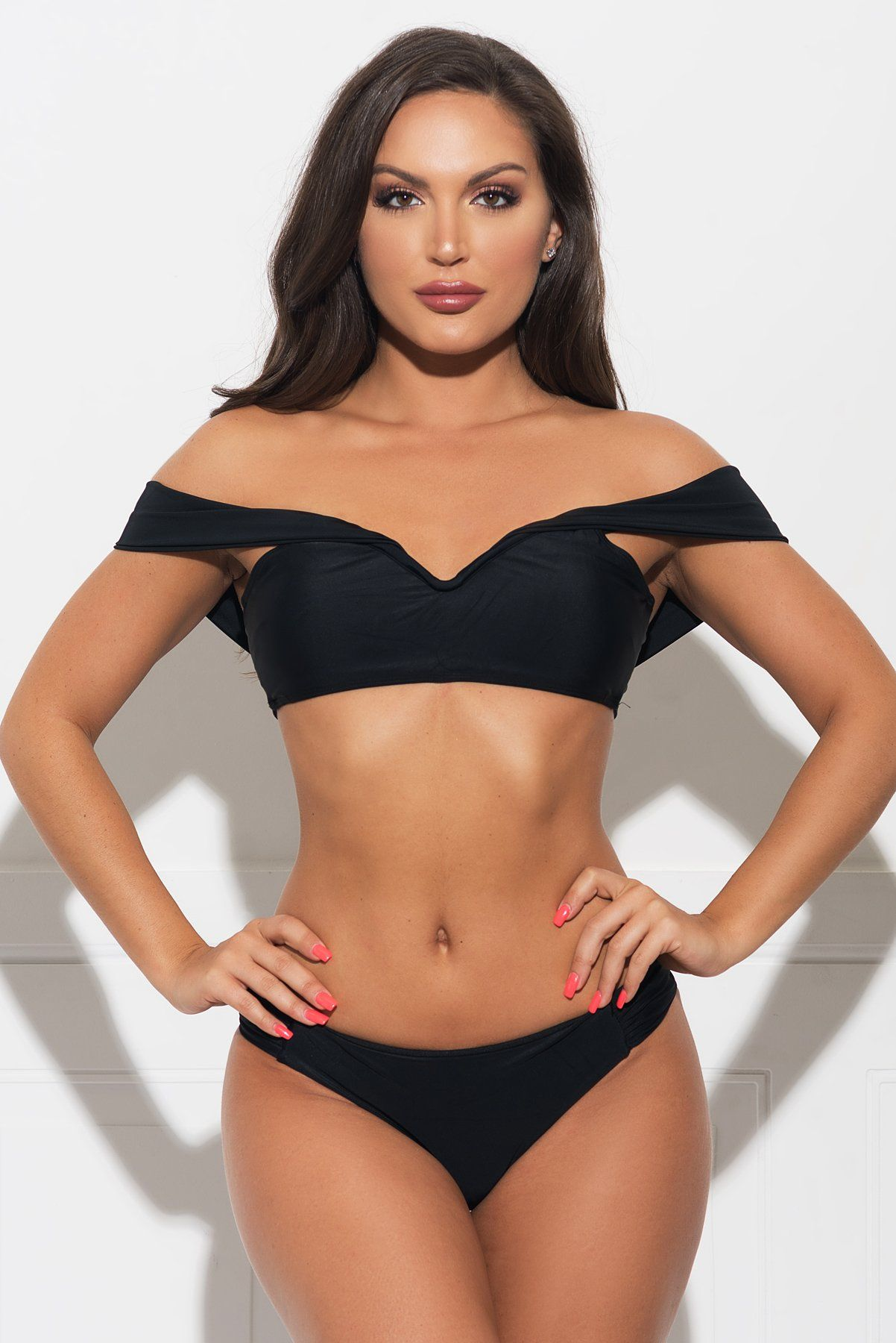 Honeymoon Island Two Piece Swimsuit Black Jusflippin With Dimes