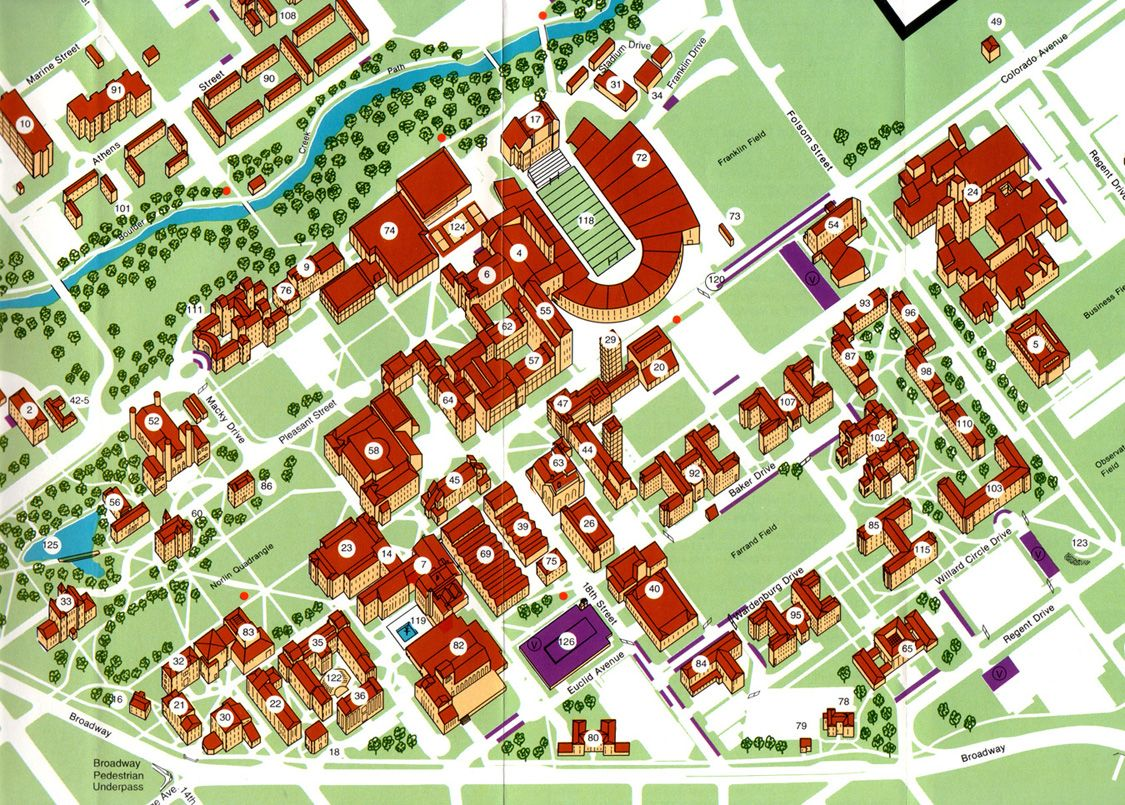 University of Colorado at Boulder Campus Map detail 1988