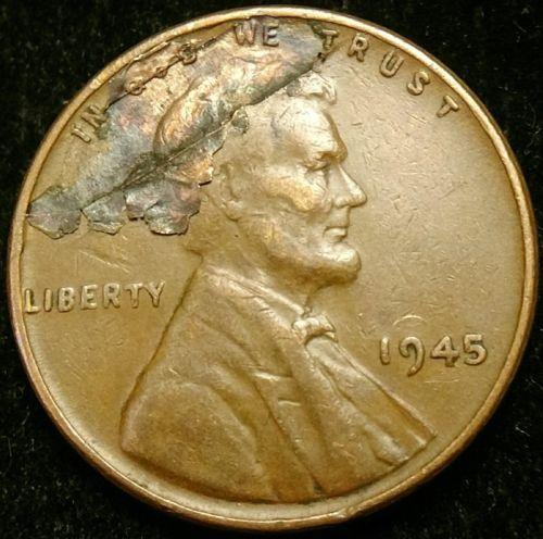 1945 P Lamination Error Lincoln Cent Wheat Penny Penny Error Coins Wheat