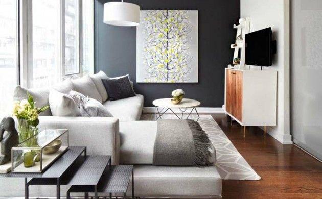 kleines wohnzimmer einrichten akzentwand retro möbel bogenlampe - Wohnzimmer Design Grun