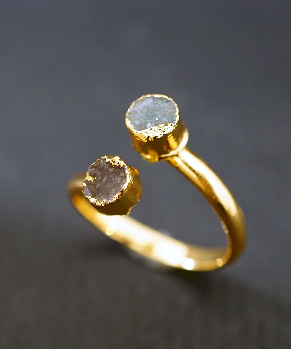DAINTY DRUZY ELECTROFORMED Gold Ring Original ready to ship Mini
