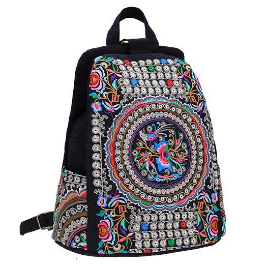 Barato Mulheres mochila de lona Étnica nacional flor
