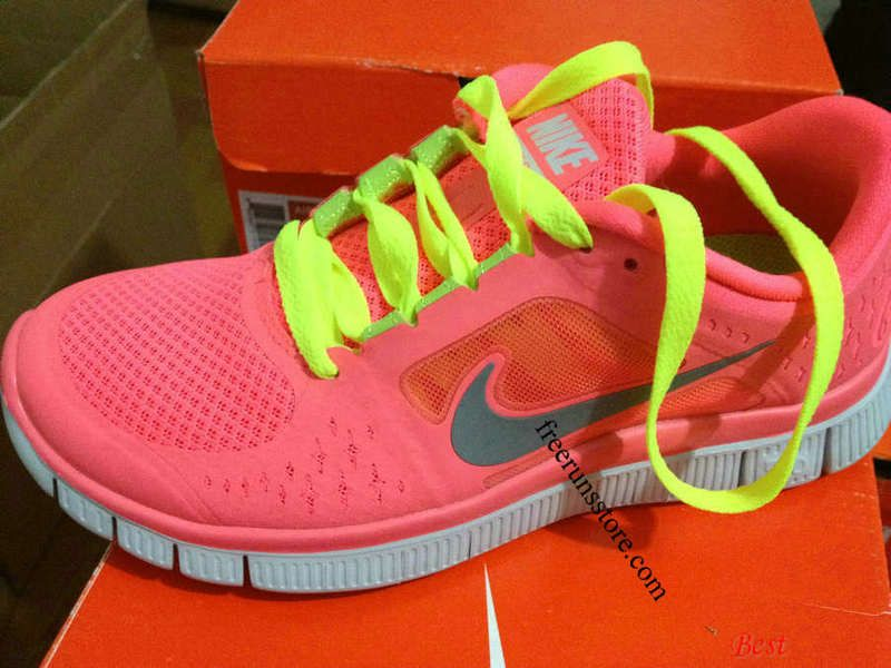 e716ae5ac849 Womens Nike Free Runs 3 Hot Punch Reflective Silver Sol Volt Lace Shoes