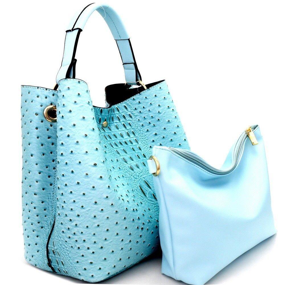 ed99ef9da6a3 Handbag Republic Ostrich Embossed Tote w Inner Bag Crossbody- Blue ...