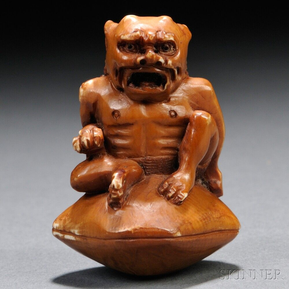 Ivory Netsuke of an Oni Monster | Sale Number 2678B, Lot Number 62 | Skinner Auctioneers