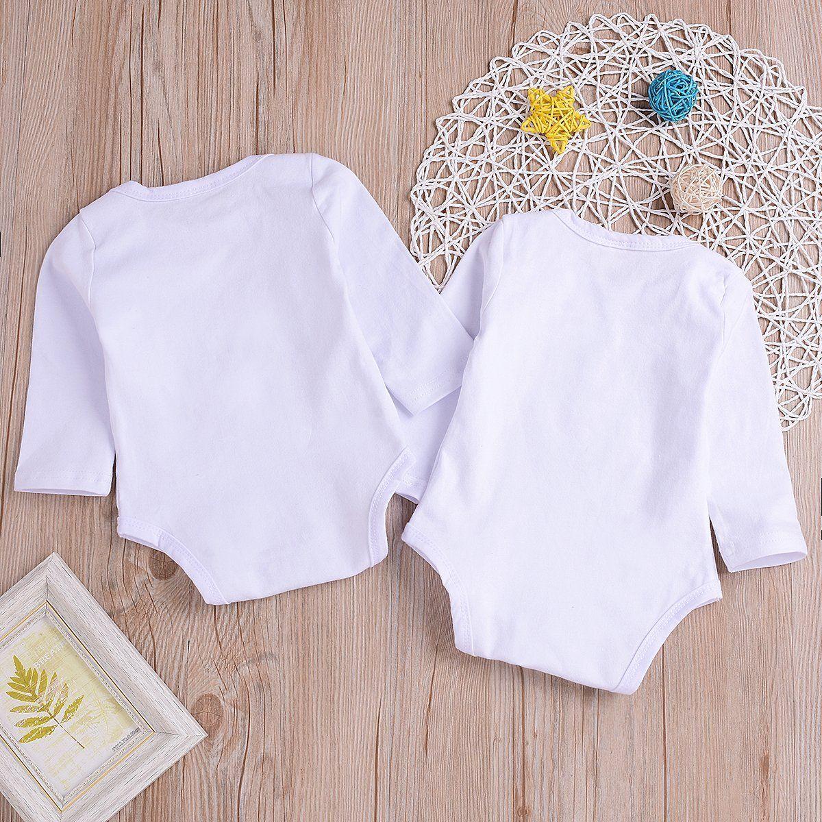 4cc2d2a555753 Mini honey 2Pcs Infant Twins Baby Boys Girls Long Sleeve Letter Print  Romper Bodysuit Summer Outfit