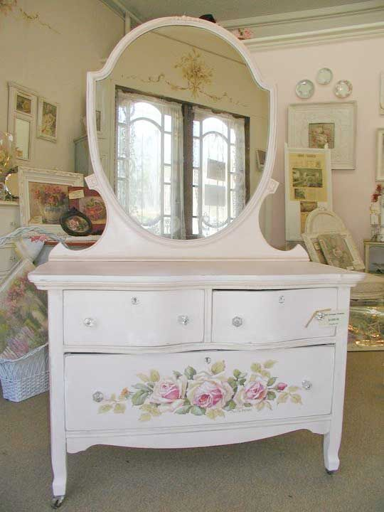 Stunning Dresser In White With Painted Roses Shabby