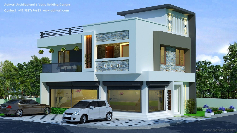 Commercial Plus Residential Building Kollam Kerala Adhvait Architectural Vastu Residential Building Design Residential Architecture Residential Building Plan