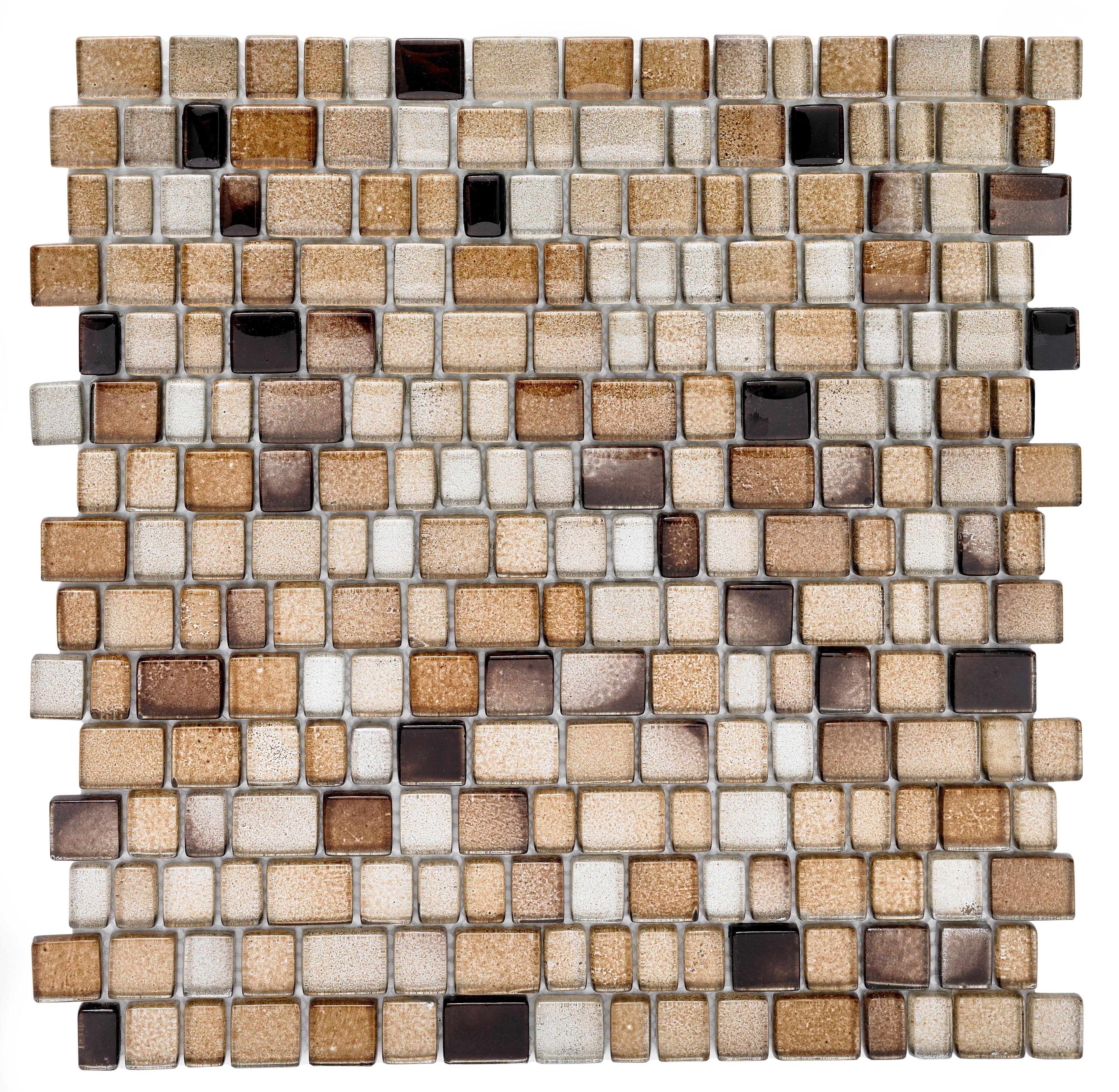 Bronze Glass Mosaic Tile L 313mm W 309mm Bathroom Mosaic Tiles