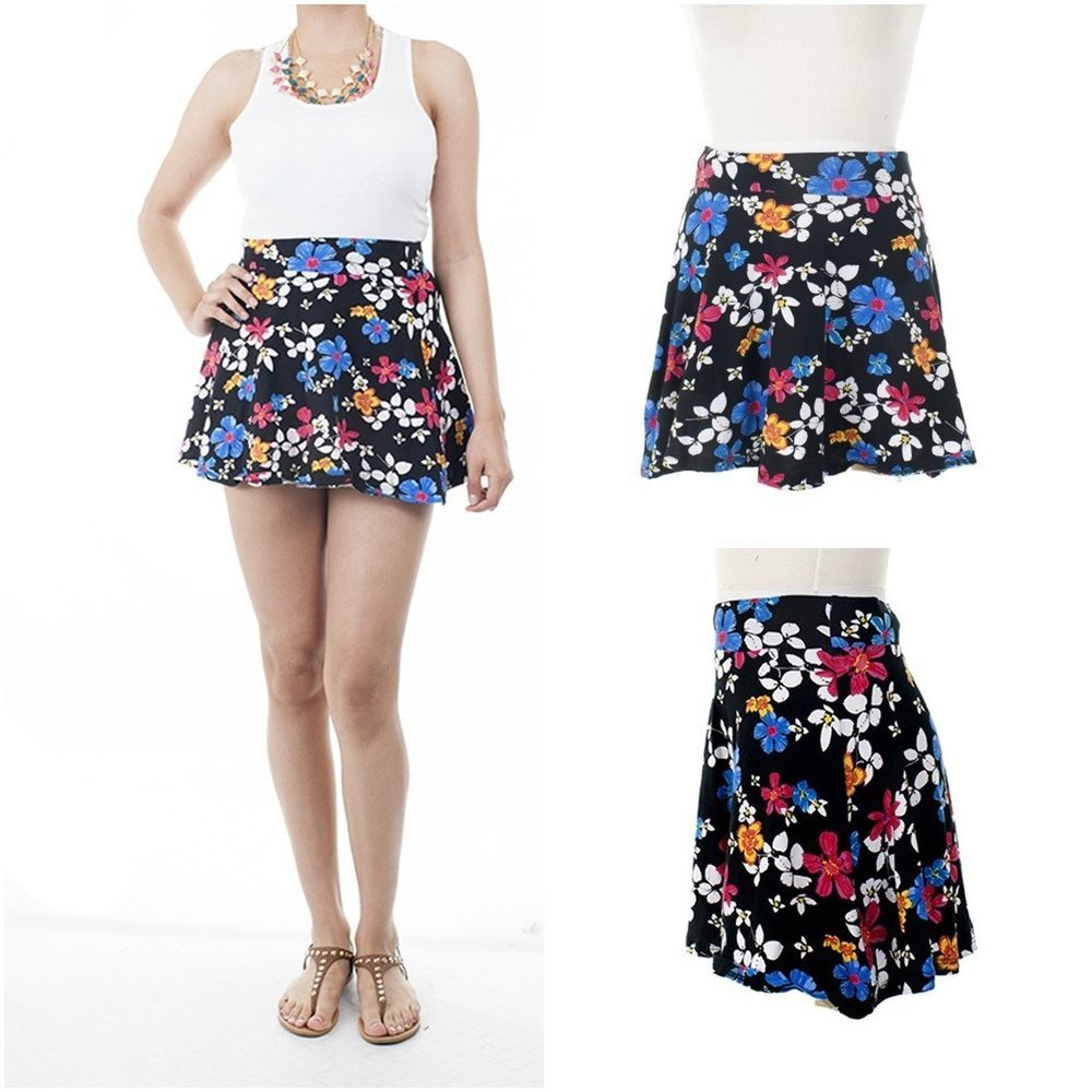 ebclo- Cute Black Mini Skater Skirt Bright Floral Prints NEW $14.00 Free Domestic Shipping