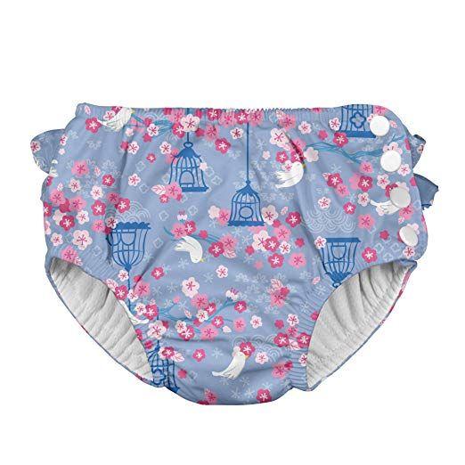 9d13155ca9 Baby Girls' Ruffle Snap Reusable Absorbent Swim Diaper, Light Blue  Songbird, 6 Months