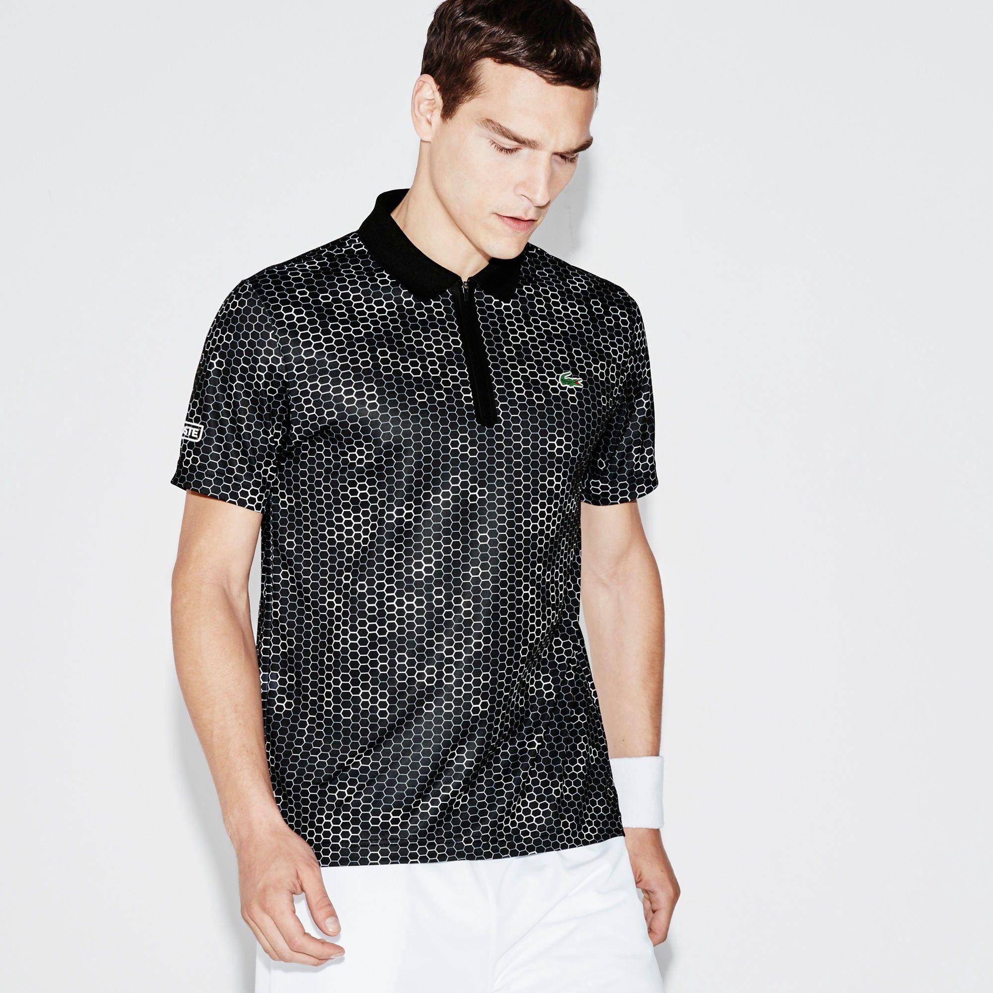 d29471011ba LACOSTE Men s SPORT Ultra Dry Zip Tennis Polo Shirt - black white ...