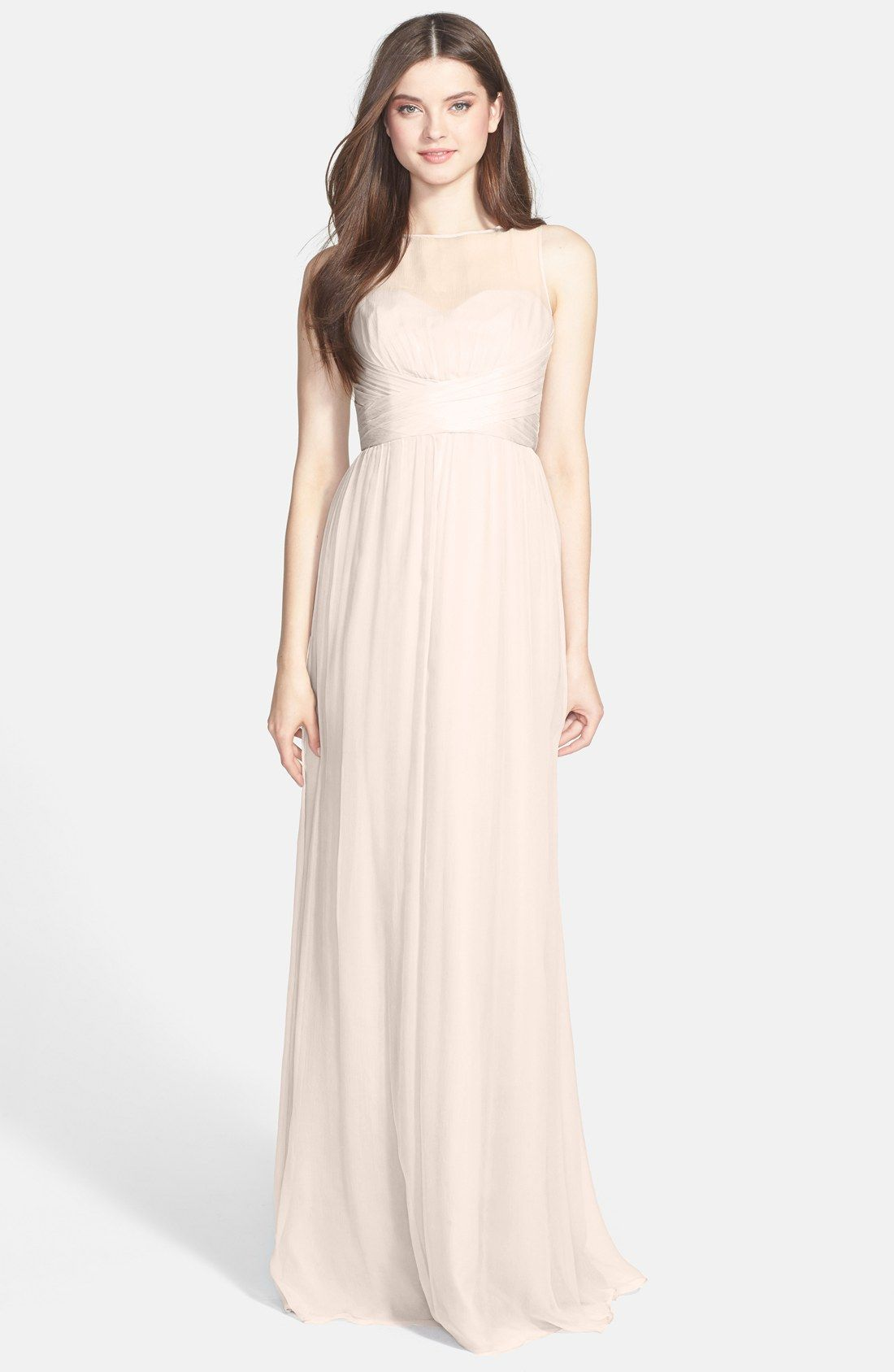 Amsale Illusion Yoke Crinkled Silk Chiffon Gown | wedding dresses ...