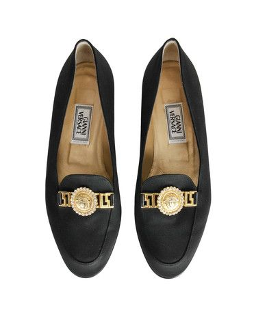 Versace Vintage Black Satin Medusa Loafers Vintage Shoes Vintage Black Loafers For Women