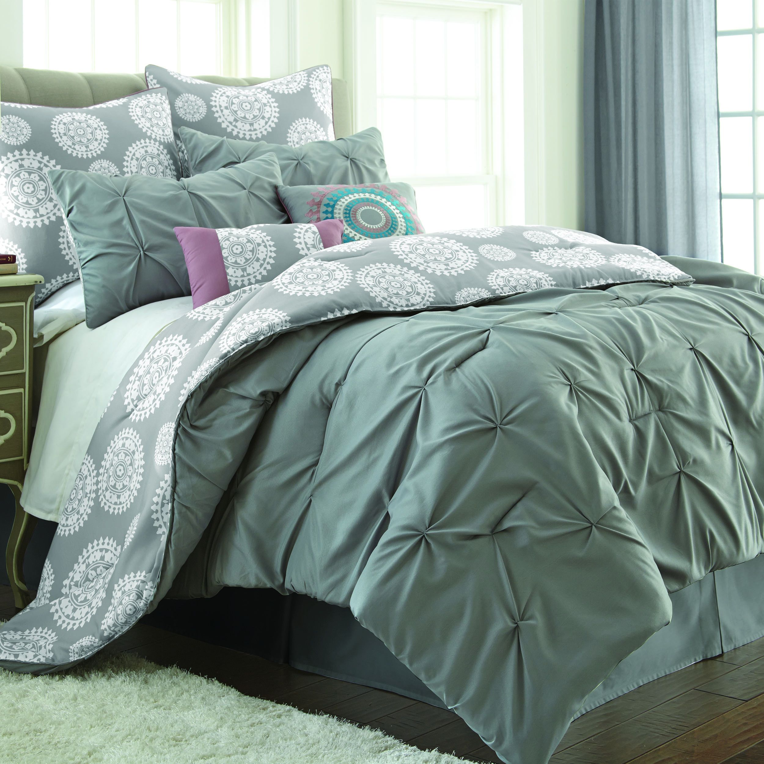 green bed sheets texture cotton texture chic and captivating this creative bedding is graced with bright decorative pillows for an textured green crinkle pattern reverses to whimsical floral
